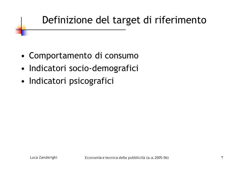 Luca ZanderighiEconomia e tecnica della pubblicità (a.a.2005-06) 7 Definizione del target di riferimento Comportamento di consumo Indicatori socio-dem
