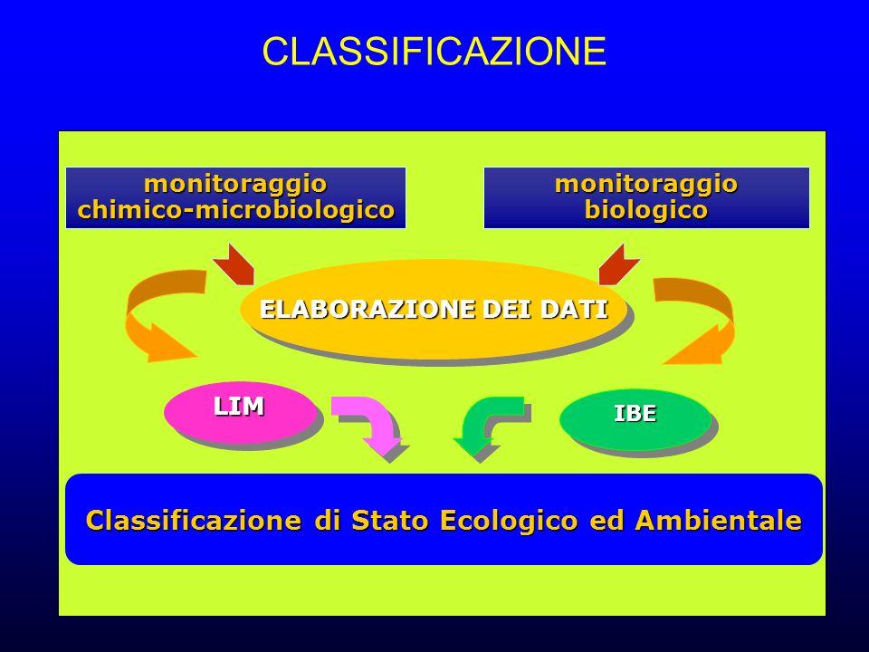 CLASSIFICAZIONE monitoraggiochimico-microbiologico ELABORAZIONEDEI DATI ELABORAZIONE DEI DATI Classificazione di Stato Ecologico ed Ambientale Classificazione di Stato Ecologico ed Ambientale monitoraggiobiologico LIMLIM IBEIBE