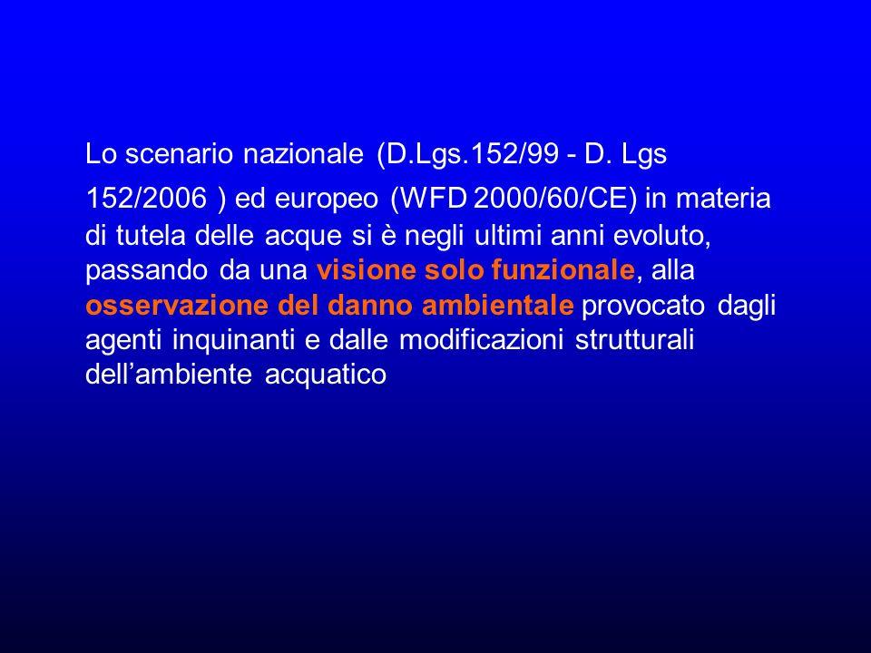 Lo scenario nazionale (D.Lgs.152/99 - D.