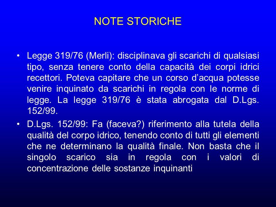 NOTE STORICHE Legge 319/76 (Merli): disciplinava gli scarichi di qualsiasi tipo, senza tenere conto della capacità dei corpi idrici recettori.