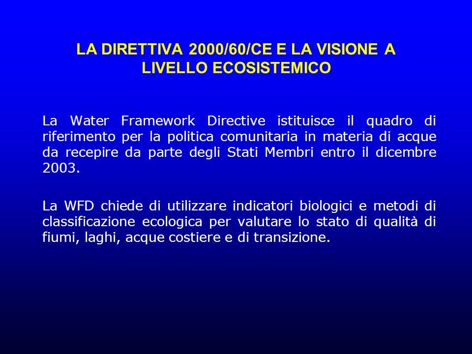 LA DIRETTIVA 2000/60/CE E LA VISIONE A LIVELLO ECOSISTEMICO La Water Framework Directive istituisce il quadro di riferimento per la politica comunitaria in materia di acque da recepire da parte degli Stati Membri entro il dicembre 2003.