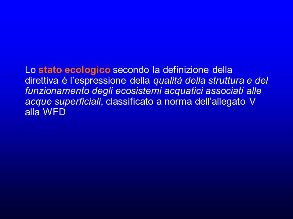 Lo stato ecologico secondo la definizione della direttiva è lespressione della qualità della struttura e del funzionamento degli ecosistemi acquatici associati alle acque superficiali, classificato a norma dellallegato V alla WFD