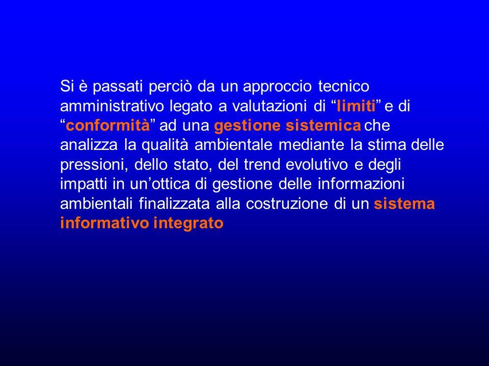 Si è passati perciò da un approccio tecnico amministrativo legato a valutazioni di limiti e diconformità ad una gestione sistemica che analizza la qualità ambientale mediante la stima delle pressioni, dello stato, del trend evolutivo e degli impatti in unottica di gestione delle informazioni ambientali finalizzata alla costruzione di un sistema informativo integrato