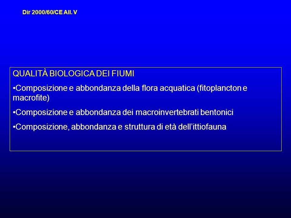 QUALITÀ BIOLOGICA DEI FIUMI Composizione e abbondanza della flora acquatica (fitoplancton e macrofite) Composizione e abbondanza dei macroinvertebrati bentonici Composizione, abbondanza e struttura di età dellittiofauna Dir 2000/60/CE All.