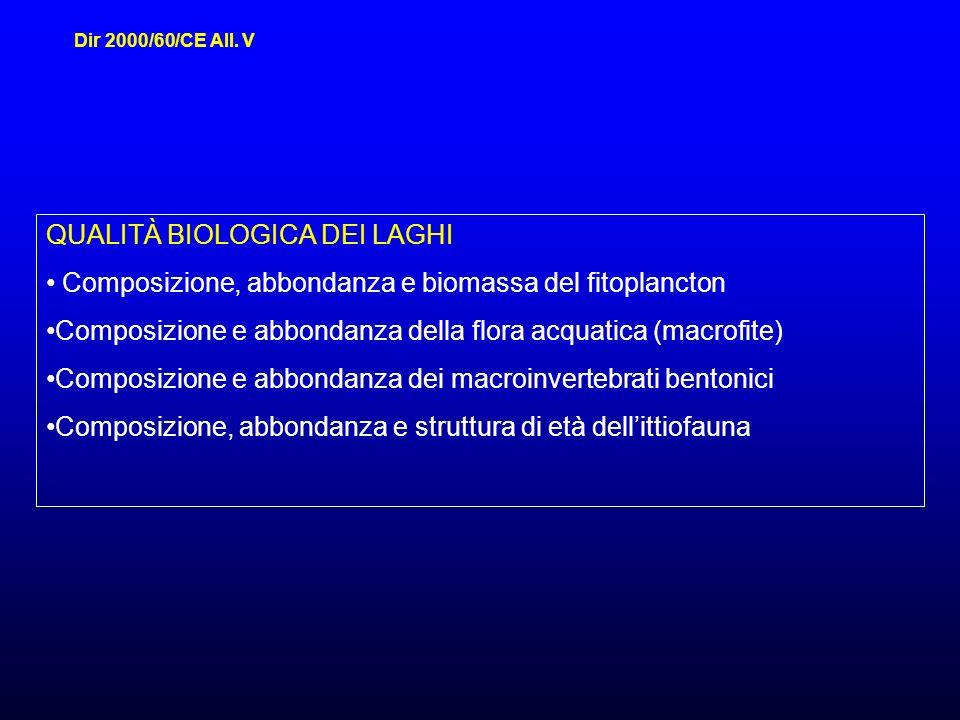 QUALITÀ BIOLOGICA DEI LAGHI Composizione, abbondanza e biomassa del fitoplancton Composizione e abbondanza della flora acquatica (macrofite) Composizione e abbondanza dei macroinvertebrati bentonici Composizione, abbondanza e struttura di età dellittiofauna Dir 2000/60/CE All.