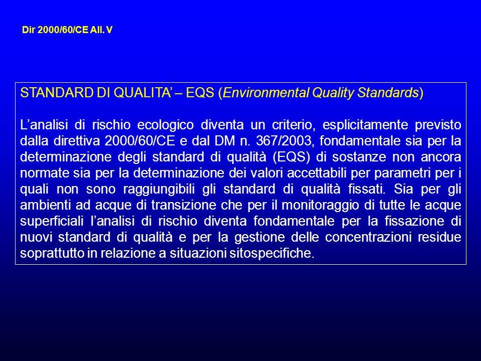 STANDARD DI QUALITA – EQS (Environmental Quality Standards) Lanalisi di rischio ecologico diventa un criterio, esplicitamente previsto dalla direttiva 2000/60/CE e dal DM n.