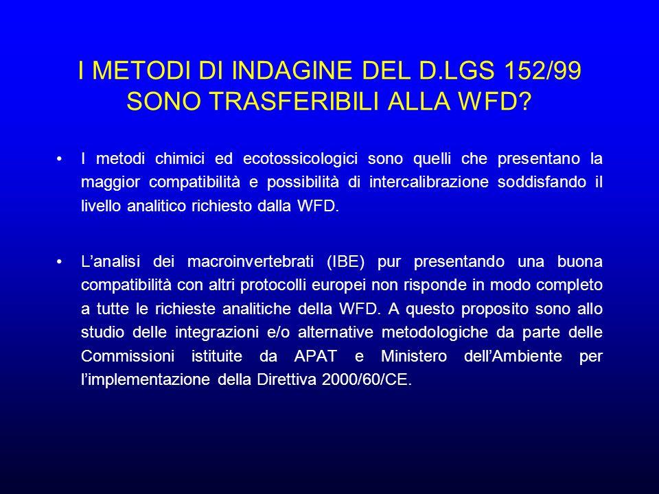 I METODI DI INDAGINE DEL D.LGS 152/99 SONO TRASFERIBILI ALLA WFD.
