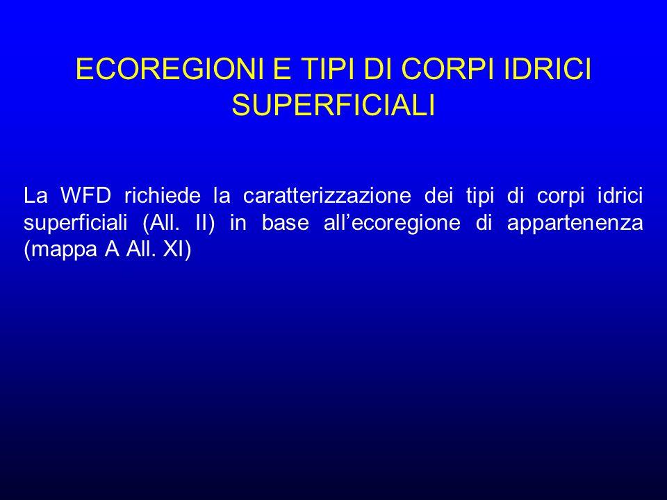 ECOREGIONI E TIPI DI CORPI IDRICI SUPERFICIALI La WFD richiede la caratterizzazione dei tipi di corpi idrici superficiali (All.
