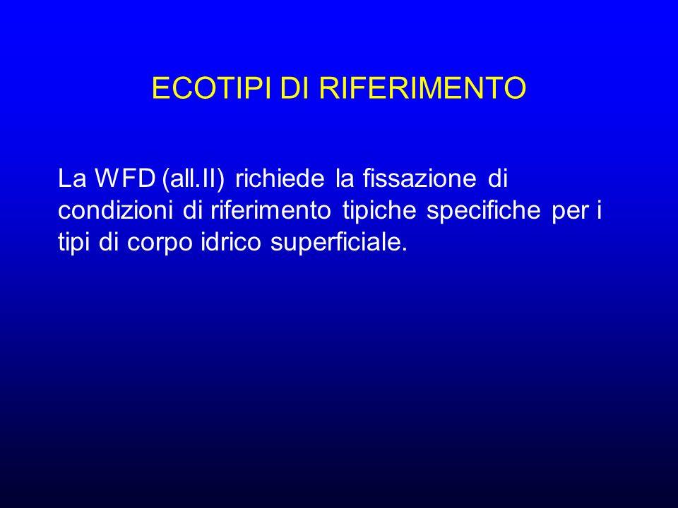 ECOTIPI DI RIFERIMENTO La WFD (all.II) richiede la fissazione di condizioni di riferimento tipiche specifiche per i tipi di corpo idrico superficiale.