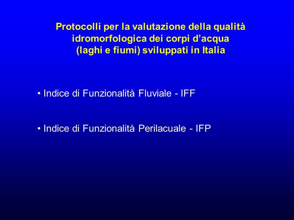 Protocolli per la valutazione della qualità idromorfologica dei corpi dacqua (laghi e fiumi) sviluppati in Italia Indice di Funzionalità Fluviale - IFF Indice di Funzionalità Perilacuale - IFP