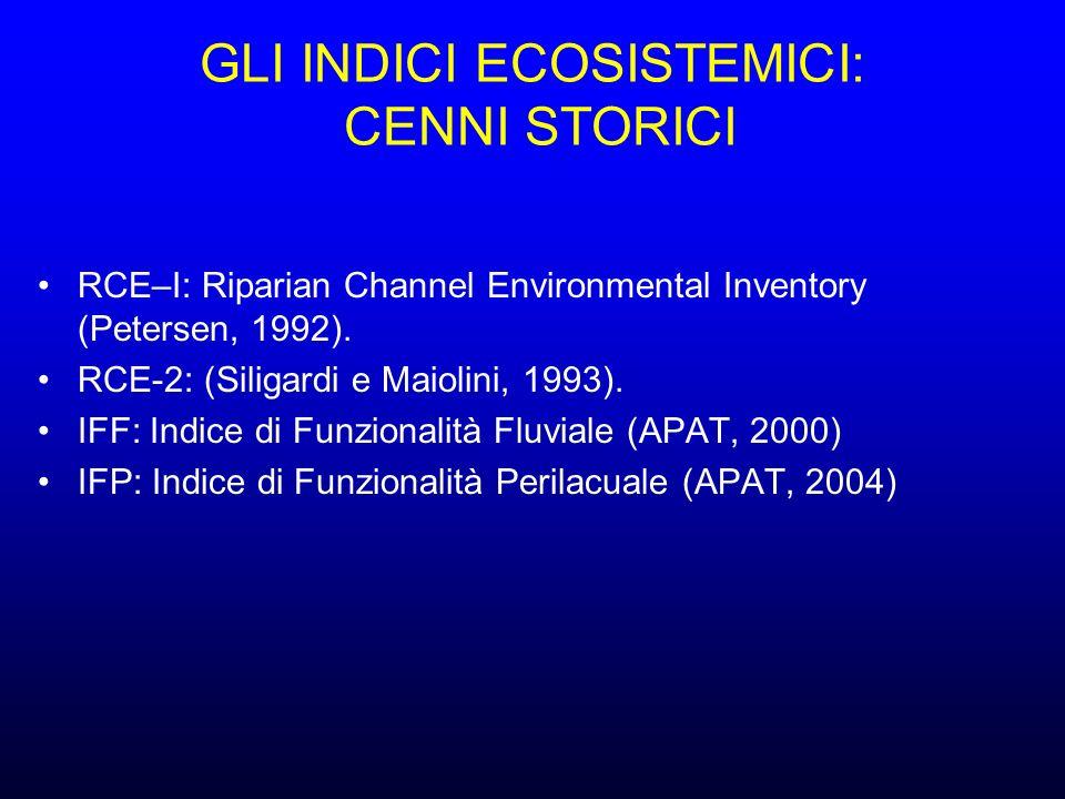 GLI INDICI ECOSISTEMICI: CENNI STORICI RCE–I: Riparian Channel Environmental Inventory (Petersen, 1992).