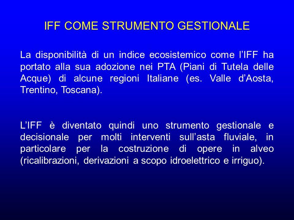 La disponibilità di un indice ecosistemico come lIFF ha portato alla sua adozione nei PTA (Piani di Tutela delle Acque) di alcune regioni Italiane (es.