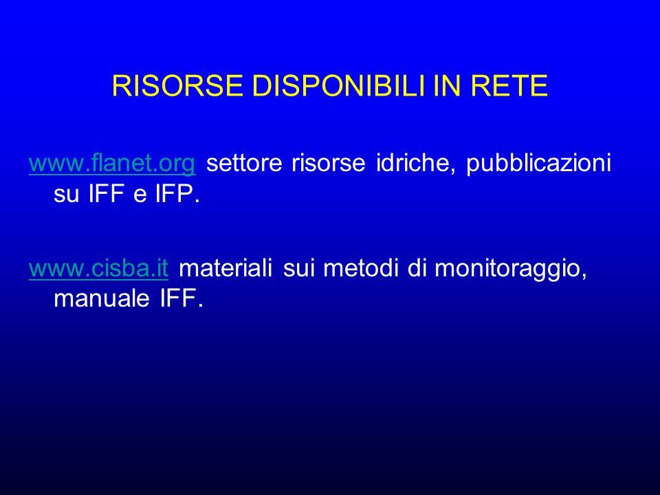 RISORSE DISPONIBILI IN RETE www.flanet.orgwww.flanet.org settore risorse idriche, pubblicazioni su IFF e IFP.