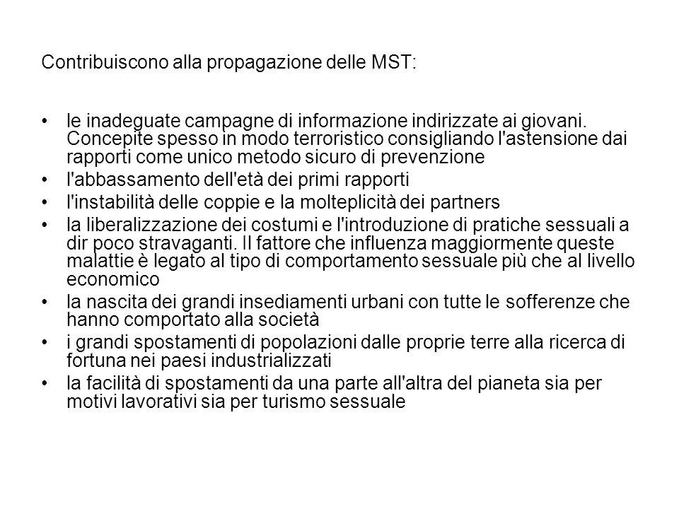 Contribuiscono alla propagazione delle MST: le inadeguate campagne di informazione indirizzate ai giovani. Concepite spesso in modo terroristico consi