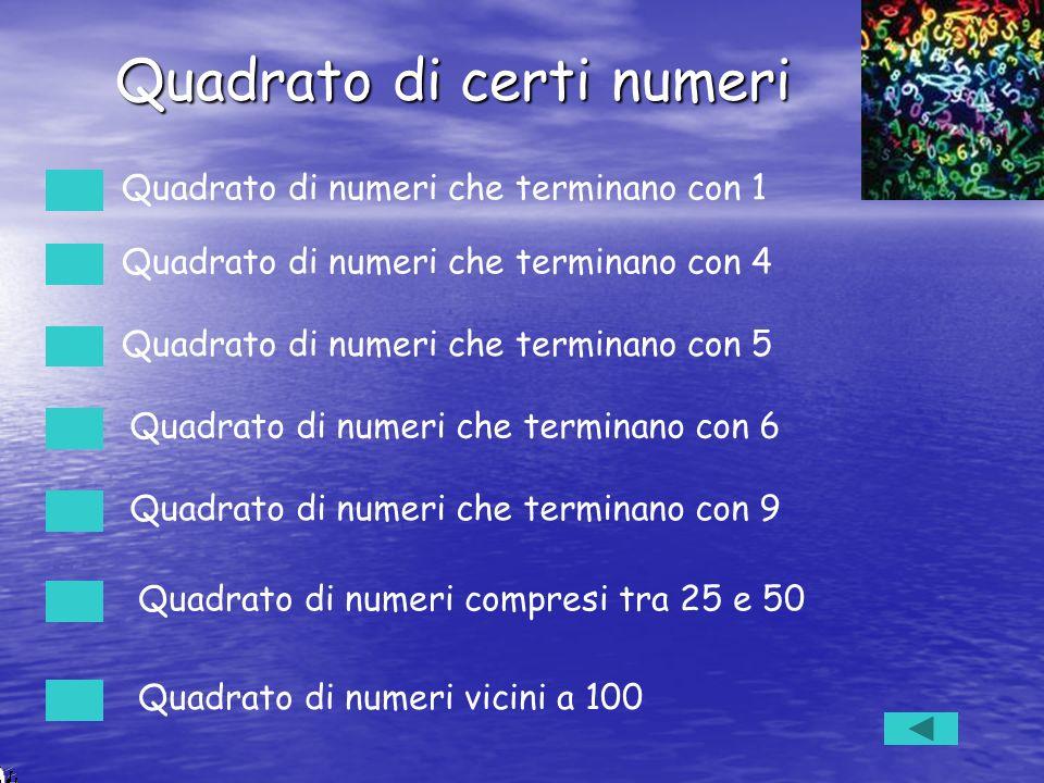 Quadrato di certi numeri Quadrato di numeri che terminano con 1 Quadrato di numeri che terminano con 4 Quadrato di numeri che terminano con 5 Quadrato
