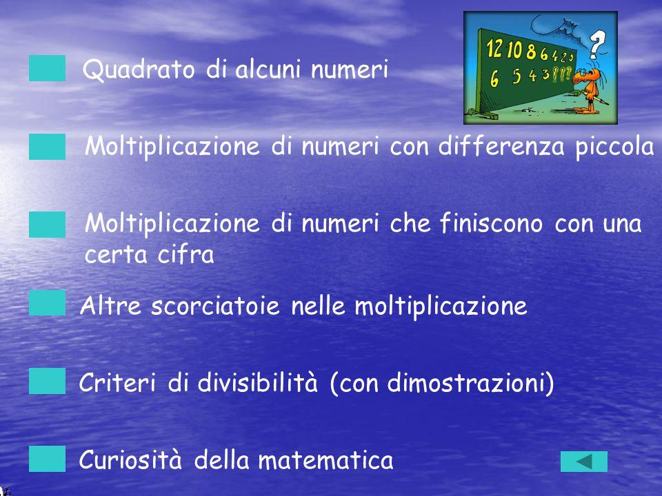 Moltiplicazione di numeri con differenza piccola Quadrato di alcuni numeri Moltiplicazione di numeri che finiscono con una certa cifra Altre scorciato