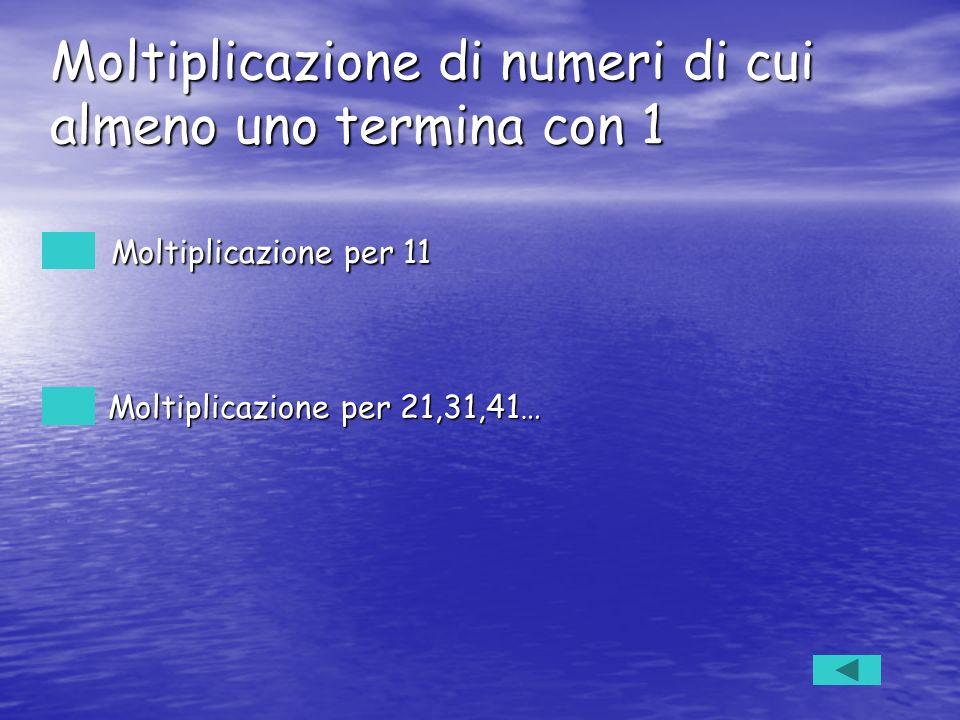Moltiplicazione per 11 Moltiplicazione per 11 Moltiplicazione per 21,31,41… Moltiplicazione per 21,31,41… Moltiplicazione di numeri di cui almeno uno