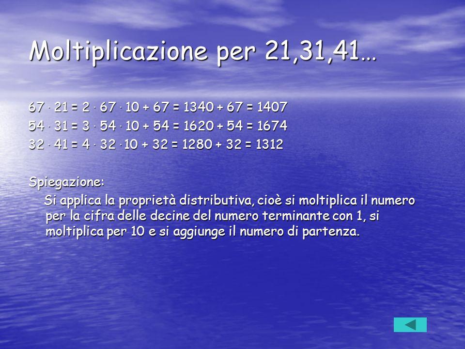 Moltiplicazione per 21,31,41… 67. 21 = 2. 67. 10 + 67 = 1340 + 67 = 1407 54. 31 = 3. 54. 10 + 54 = 1620 + 54 = 1674 32. 41 = 4. 32. 10 + 32 = 1280 + 3