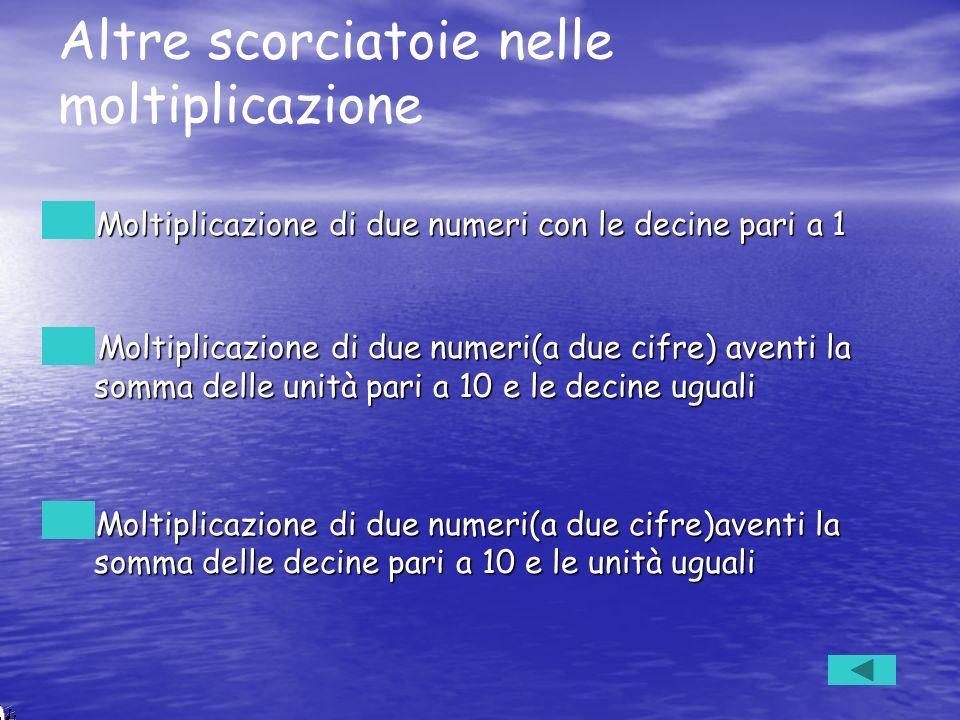Altre scorciatoie nelle moltiplicazione Moltiplicazione di due numeri con le decine pari a 1 Moltiplicazione di due numeri con le decine pari a 1 Molt