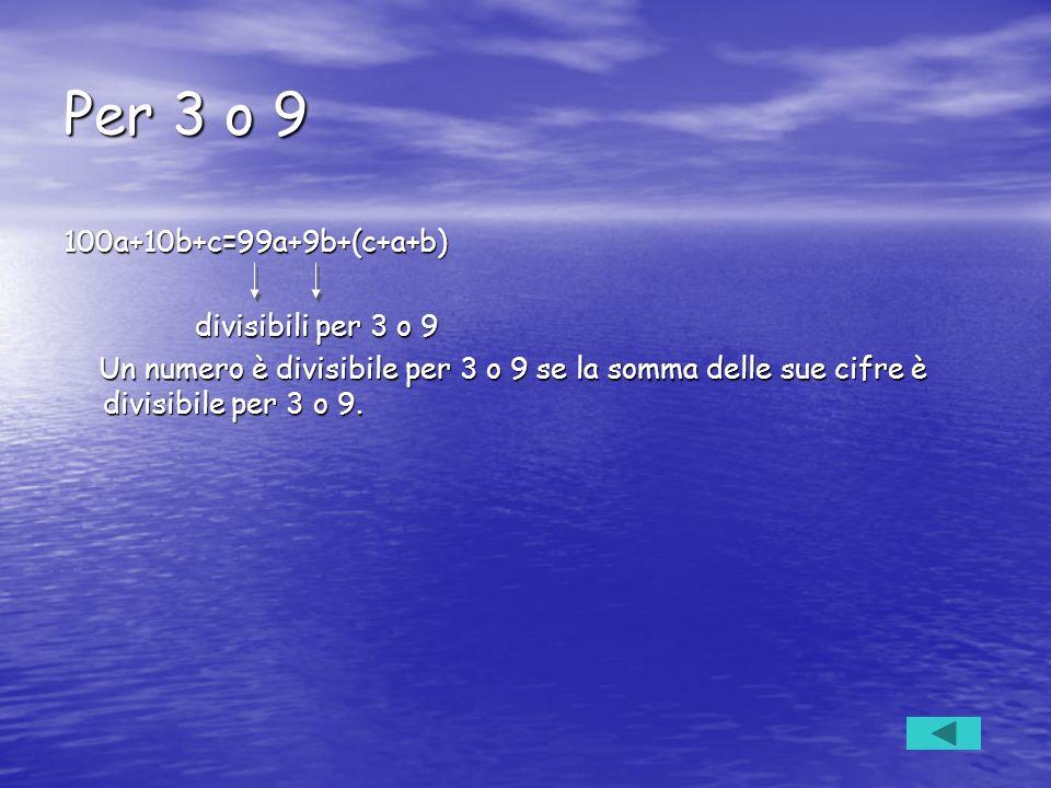 Per 3 o 9 100a+10b+c=99a+9b+(c+a+b) divisibili per 3 o 9 divisibili per 3 o 9 Un numero è divisibile per 3 o 9 se la somma delle sue cifre è divisibil