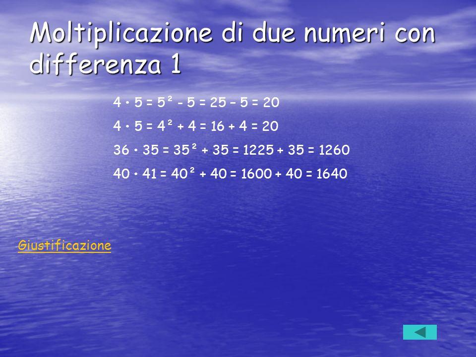 Moltiplicazione di due numeri con differenza 1 4 5 = 5² - 5 = 25 – 5 = 20 4 5 = 4² + 4 = 16 + 4 = 20 36 35 = 35² + 35 = 1225 + 35 = 1260 40 41 = 40² +