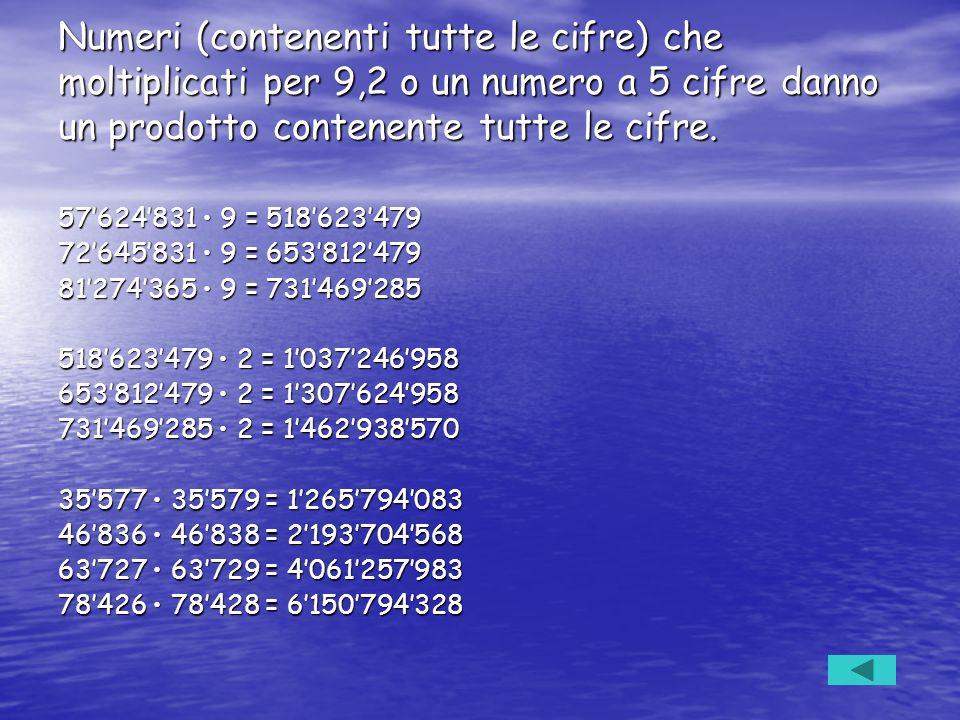 Numeri (contenenti tutte le cifre) che moltiplicati per 9,2 o un numero a 5 cifre danno un prodotto contenente tutte le cifre. 57624831 9 = 518623479