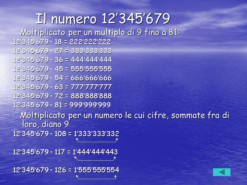 Il numero 12345679 Il numero 12345679 Moltiplicato per un multiplo di 9 fino a 81: Moltiplicato per un multiplo di 9 fino a 81: 12345679 18 = 22222222