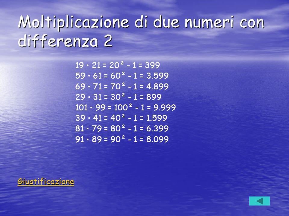 Moltiplicazione di due numeri con differenza 2 19 21 = 20² - 1 = 399 59 61 = 60² - 1 = 3.599 69 71 = 70² - 1 = 4.899 29 31 = 30² - 1 = 899 101 99 = 10