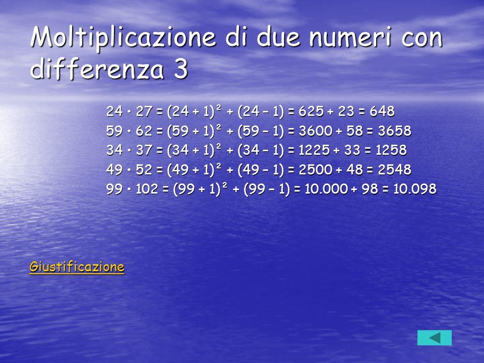 Moltiplicazione di due numeri con differenza 3 24 27 = (24 + 1)² + (24 – 1) = 625 + 23 = 648 24 27 = (24 + 1)² + (24 – 1) = 625 + 23 = 648 59 62 = (59