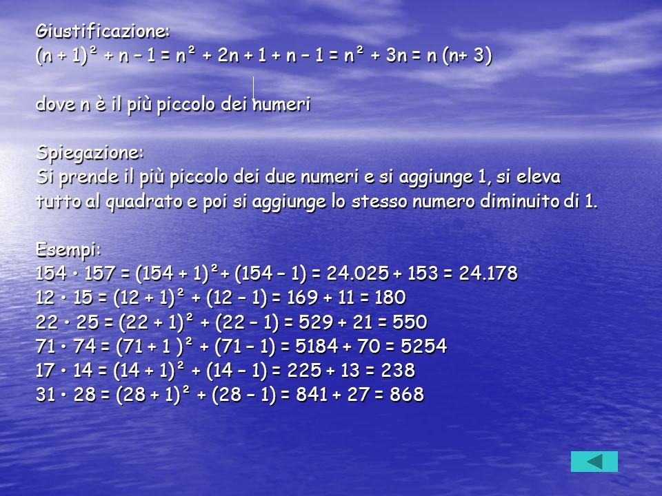 Giustificazione: (n + 1)² + n – 1 = n² + 2n + 1 + n – 1 = n² + 3n = n (n+ 3) dove n è il più piccolo dei numeri Spiegazione: Si prende il più piccolo