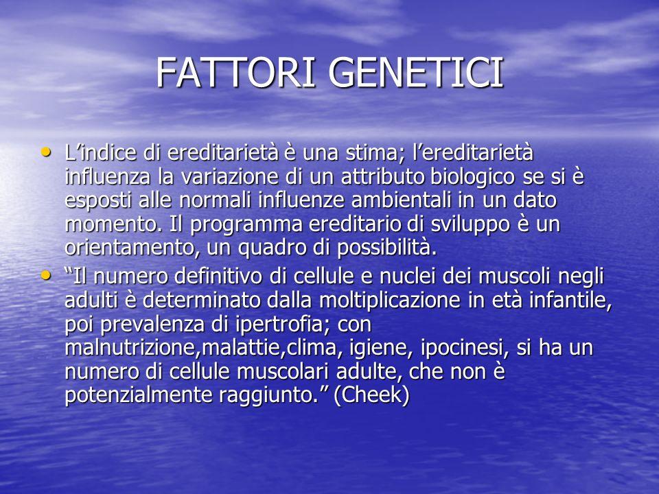 FATTORI GENETICI Lindice di ereditarietà è una stima; lereditarietà influenza la variazione di un attributo biologico se si è esposti alle normali inf