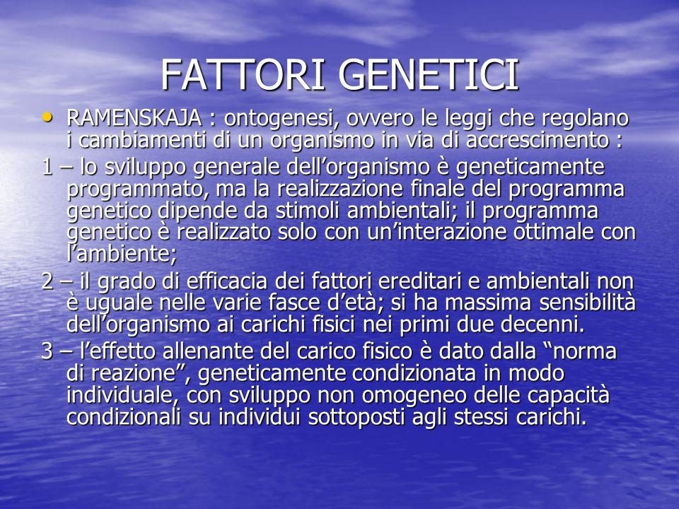 FATTORI GENETICI RAMENSKAJA : ontogenesi, ovvero le leggi che regolano i cambiamenti di un organismo in via di accrescimento : RAMENSKAJA : ontogenesi
