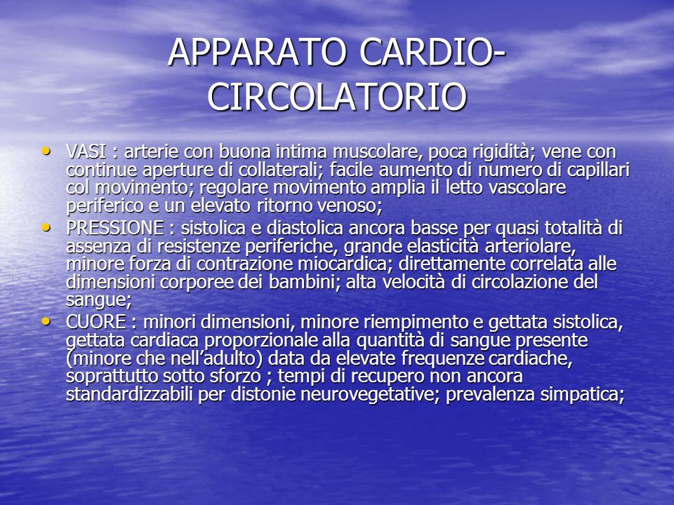 APPARATO CARDIO- CIRCOLATORIO VASI : arterie con buona intima muscolare, poca rigidità; vene con continue aperture di collaterali; facile aumento di n
