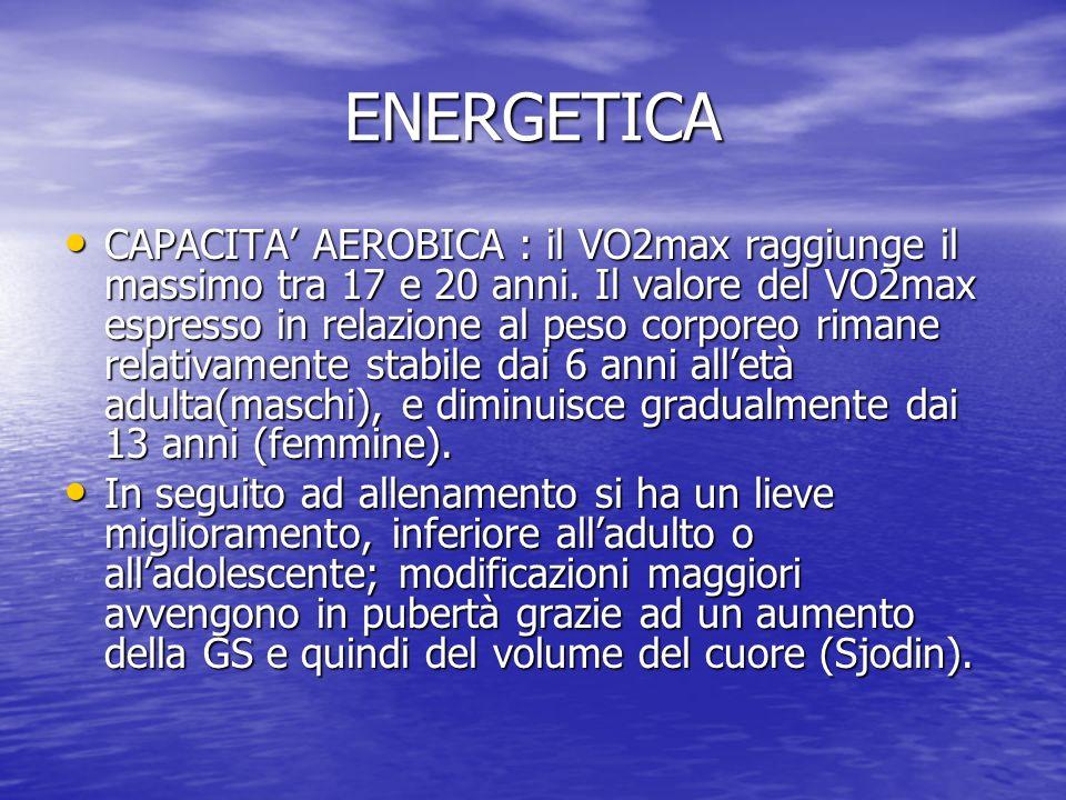 ENERGETICA CAPACITA AEROBICA : il VO2max raggiunge il massimo tra 17 e 20 anni. Il valore del VO2max espresso in relazione al peso corporeo rimane rel