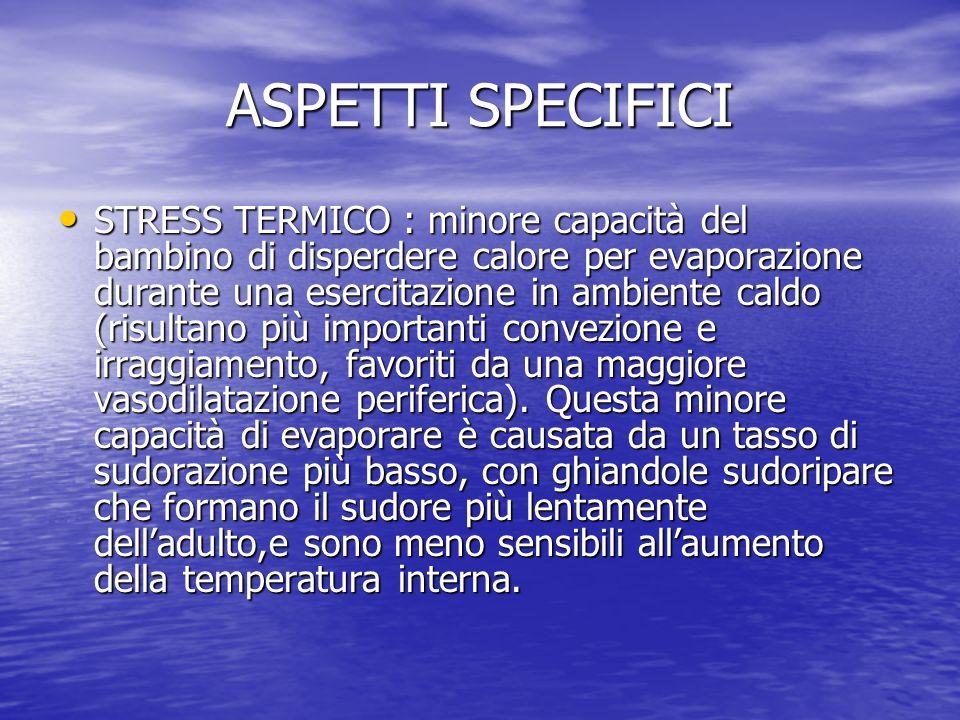 ASPETTI SPECIFICI STRESS TERMICO : minore capacità del bambino di disperdere calore per evaporazione durante una esercitazione in ambiente caldo (risu