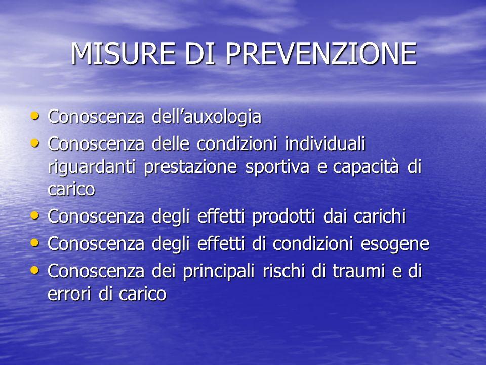 MISURE DI PREVENZIONE Conoscenza dellauxologia Conoscenza dellauxologia Conoscenza delle condizioni individuali riguardanti prestazione sportiva e cap