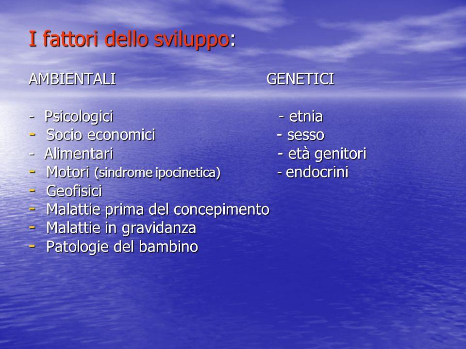 I fattori dello sviluppo: AMBIENTALI GENETICI - Psicologici - etnia - Socio economici - sesso - Alimentari - età genitori - Motori (sindrome ipocineti