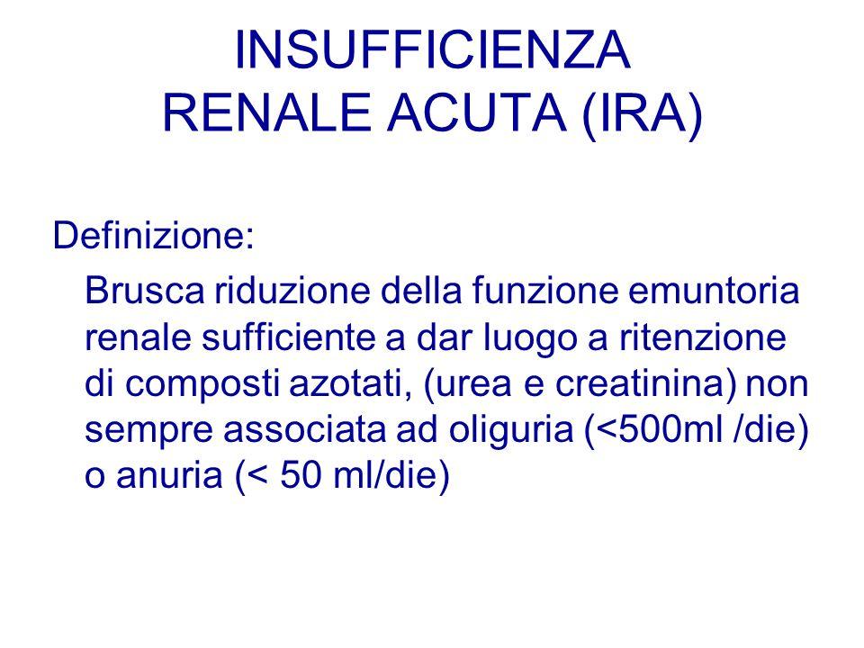 INSUFFICIENZA RENALE ACUTA (IRA) Definizione: Brusca riduzione della funzione emuntoria renale sufficiente a dar luogo a ritenzione di composti azotat