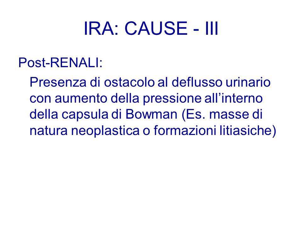Post-RENALI: Presenza di ostacolo al deflusso urinario con aumento della pressione allinterno della capsula di Bowman (Es. masse di natura neoplastica