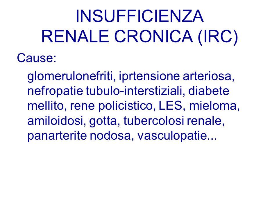 INSUFFICIENZA RENALE CRONICA (IRC) Cause: glomerulonefriti, iprtensione arteriosa, nefropatie tubulo-interstiziali, diabete mellito, rene policistico,