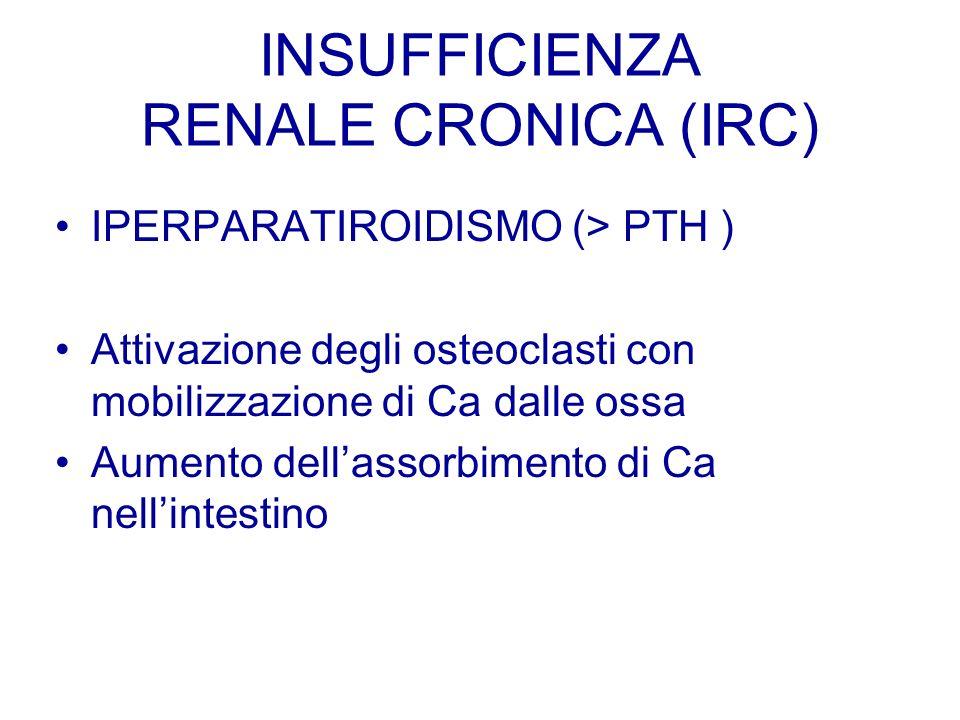 INSUFFICIENZA RENALE CRONICA (IRC) IPERPARATIROIDISMO (> PTH ) Attivazione degli osteoclasti con mobilizzazione di Ca dalle ossa Aumento dellassorbime