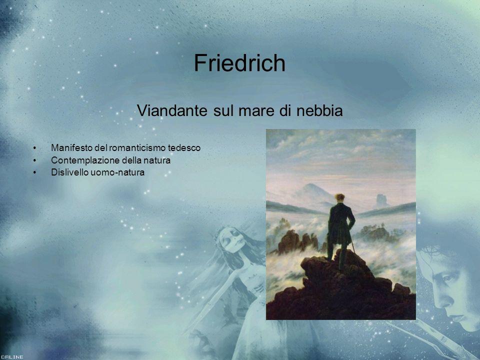 Friedrich Viandante sul mare di nebbia Manifesto del romanticismo tedesco Contemplazione della natura Dislivello uomo-natura Viandante sul mare di neb