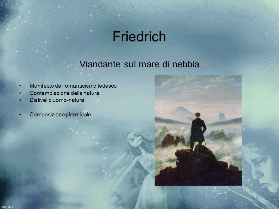 Friedrich Viandante sul mare di nebbia Manifesto del romanticismo tedesco Contemplazione della natura Dislivello uomo-natura Composizione piramidale V