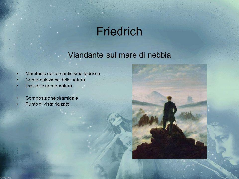 Friedrich Viandante sul mare di nebbia Manifesto del romanticismo tedesco Contemplazione della natura Dislivello uomo-natura Composizione piramidale P