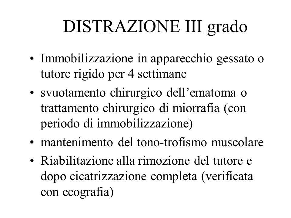 DISTRAZIONE III grado Immobilizzazione in apparecchio gessato o tutore rigido per 4 settimane svuotamento chirurgico dellematoma o trattamento chirurg