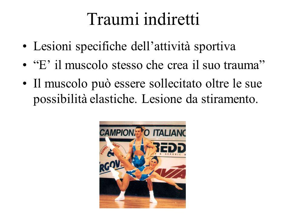 Traumi indiretti Lesioni specifiche dellattività sportiva E il muscolo stesso che crea il suo trauma Il muscolo può essere sollecitato oltre le sue po