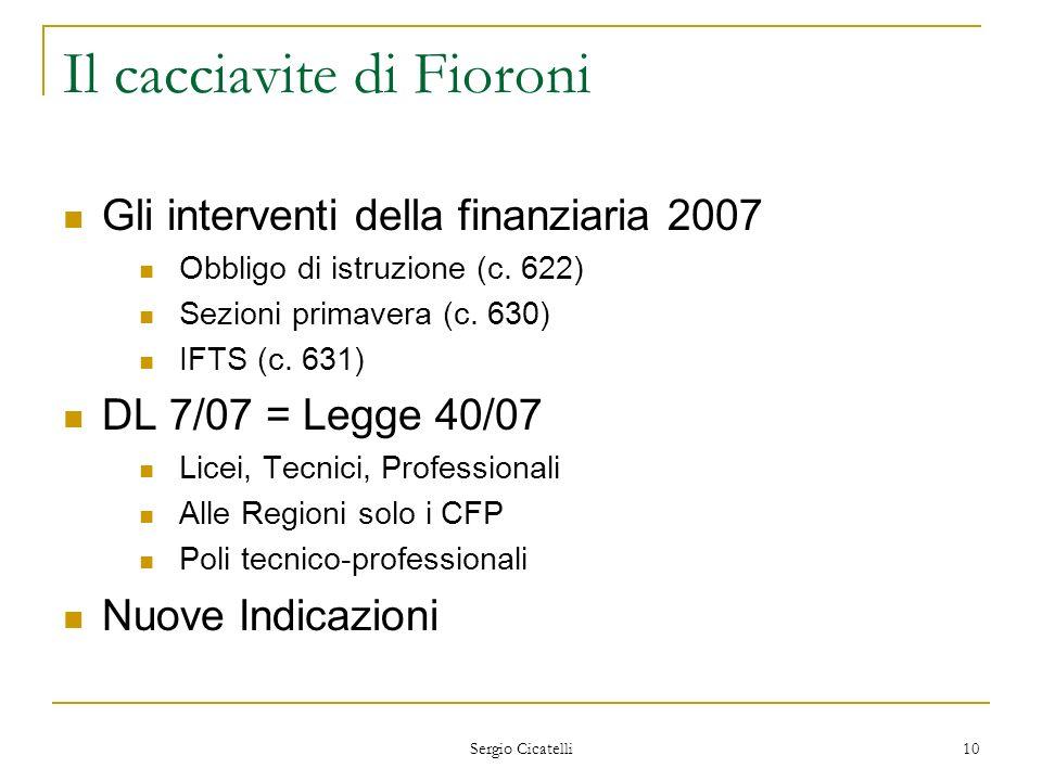 Sergio Cicatelli 10 Il cacciavite di Fioroni Gli interventi della finanziaria 2007 Obbligo di istruzione (c. 622) Sezioni primavera (c. 630) IFTS (c.