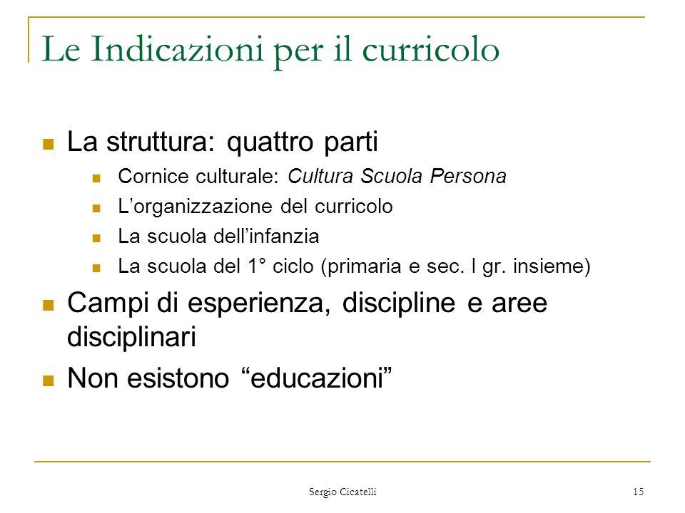 Sergio Cicatelli 15 Le Indicazioni per il curricolo La struttura: quattro parti Cornice culturale: Cultura Scuola Persona Lorganizzazione del curricol