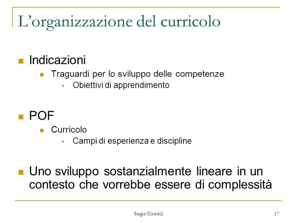 Sergio Cicatelli 17 Lorganizzazione del curricolo Indicazioni Traguardi per lo sviluppo delle competenze Obiettivi di apprendimento POF Curricolo Camp
