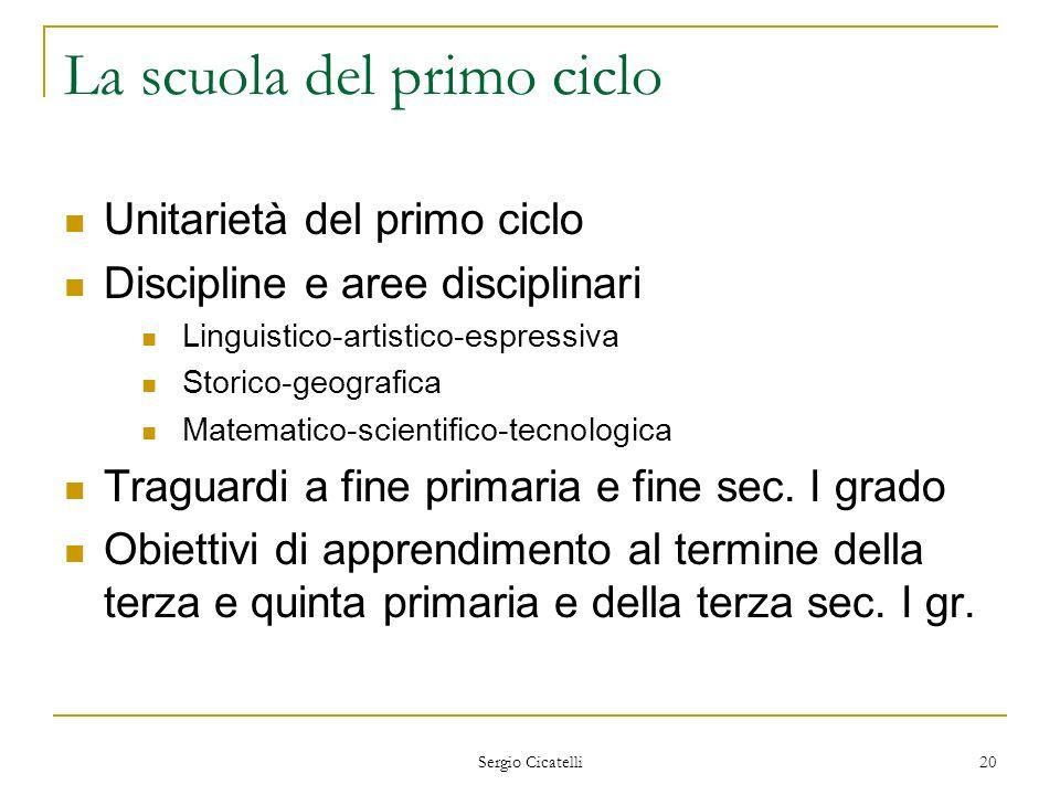 Sergio Cicatelli 20 La scuola del primo ciclo Unitarietà del primo ciclo Discipline e aree disciplinari Linguistico-artistico-espressiva Storico-geogr